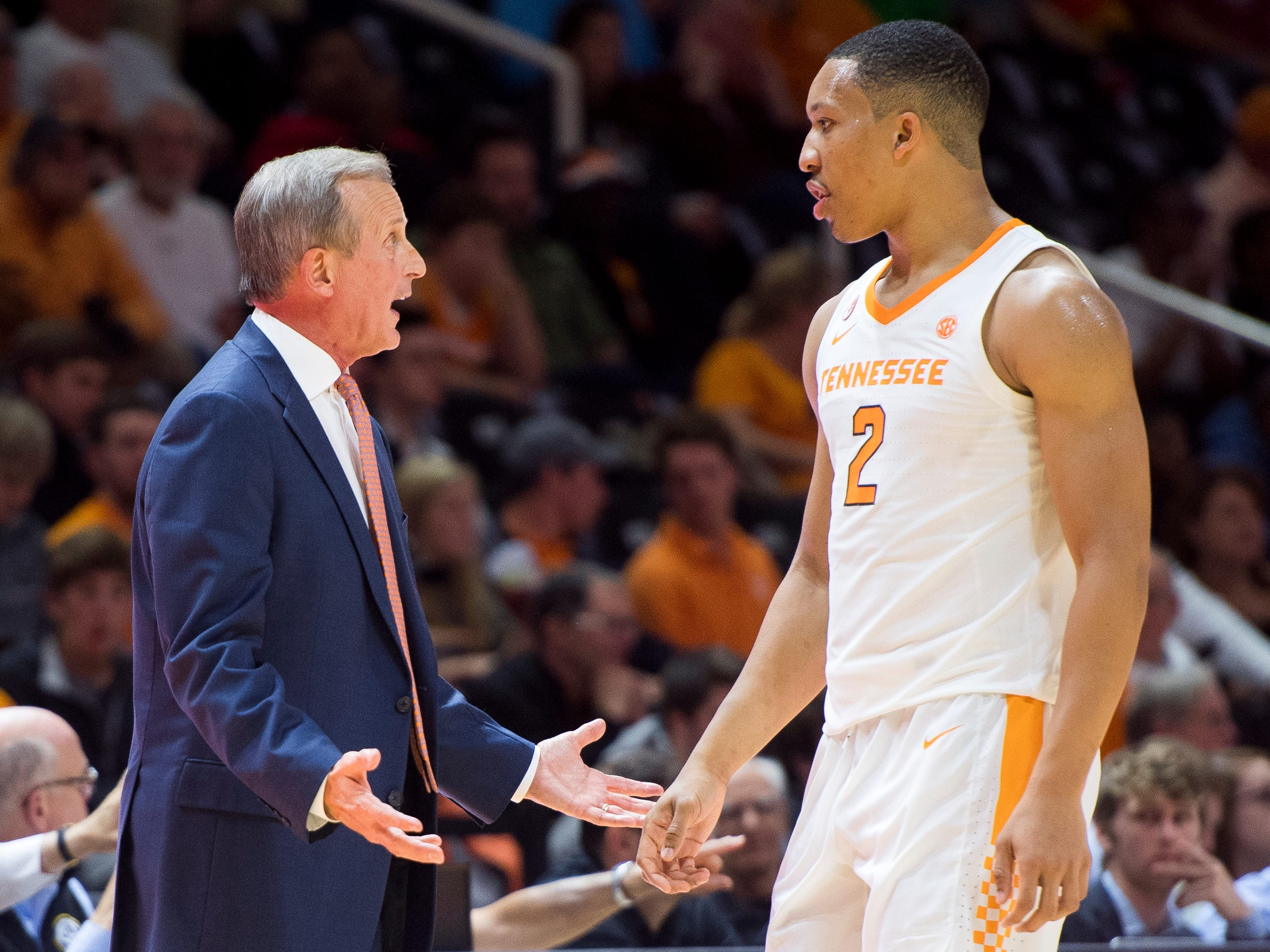 Tennessee Head Coach Rick Barnes talks to Tennessee forward Grant Williams (2) during Tennessee's basketball game against Lenoir-Rhyne at Thompson-Boling Arena in Knoxville on Tuesday, November 6, 2018.