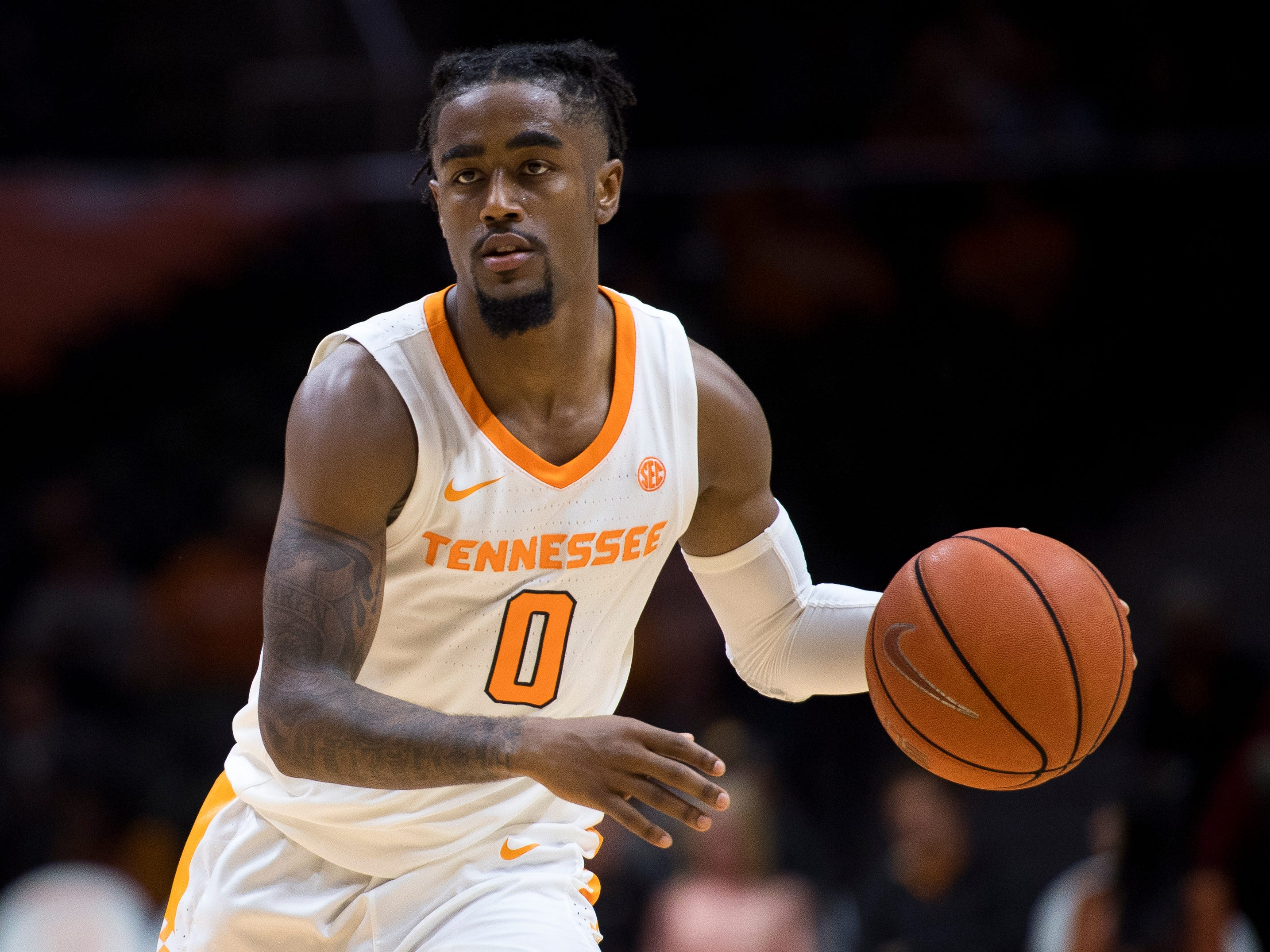 Tennessee guard Jordan Bone (0) during Tennessee's basketball game against Lenoir-Rhyne at Thompson-Boling Arena in Knoxville on Tuesday, November 6, 2018.