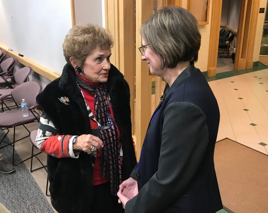 State Rep. Sheila Klinker, D-Lafayette, congratulates Chris Campbell, a West Lafayette Democrat, on her victory over Rep. Sally Siegrist in House District 26 on Tuesday, Nov. 6, 2018.