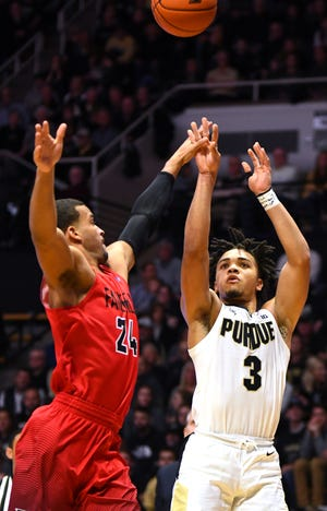 Purdue's Carsen Edwards drains a shot against Fairfield in West Lafayette on Tuesday November 11, 2018.