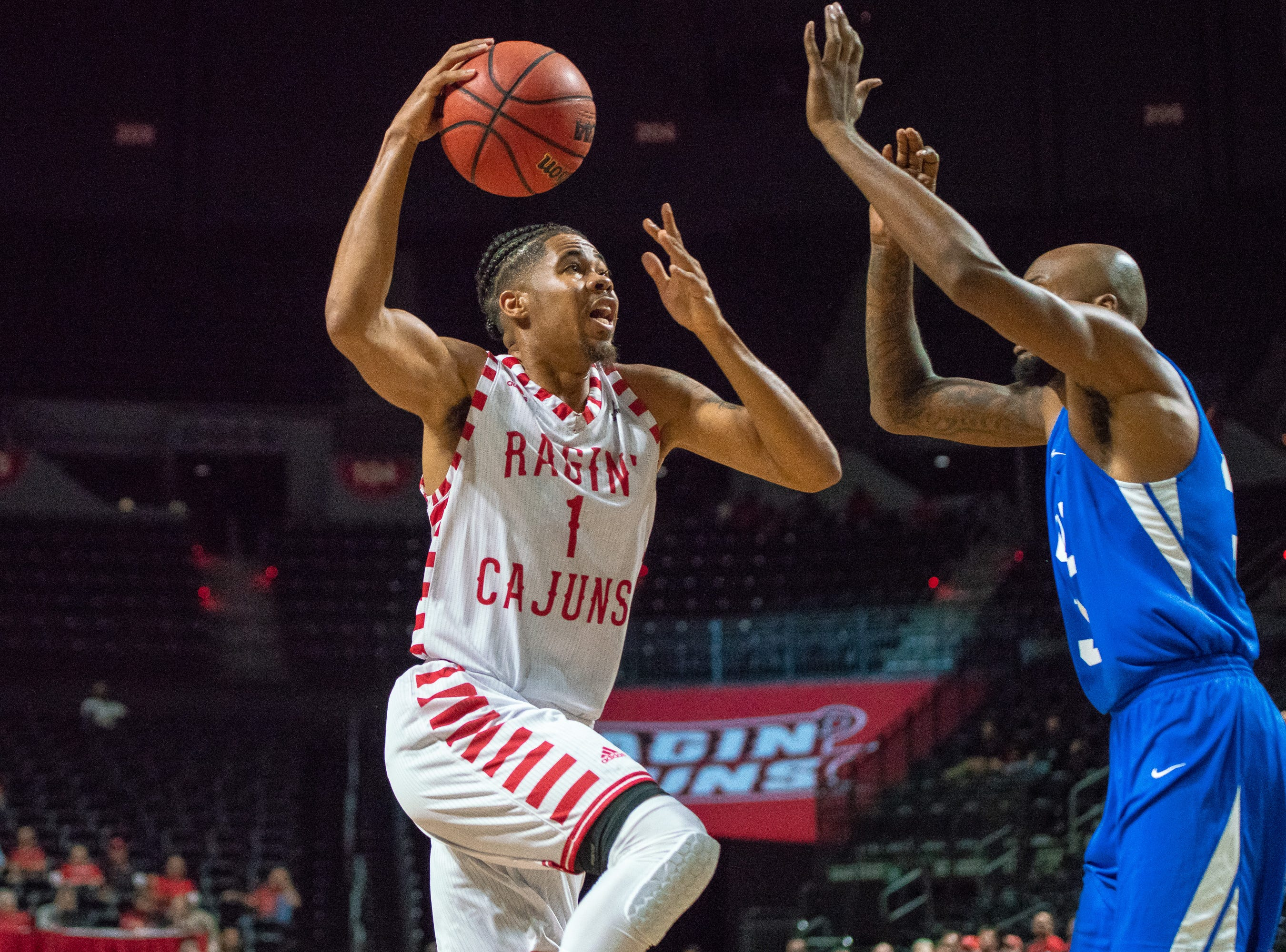 UL's Malik Marquetti goes up to the goal to score as the Ragin' Cajuns take on the University of the Virgin Islands Buccaneers at the Cajundome on Nov. 6, 2018.