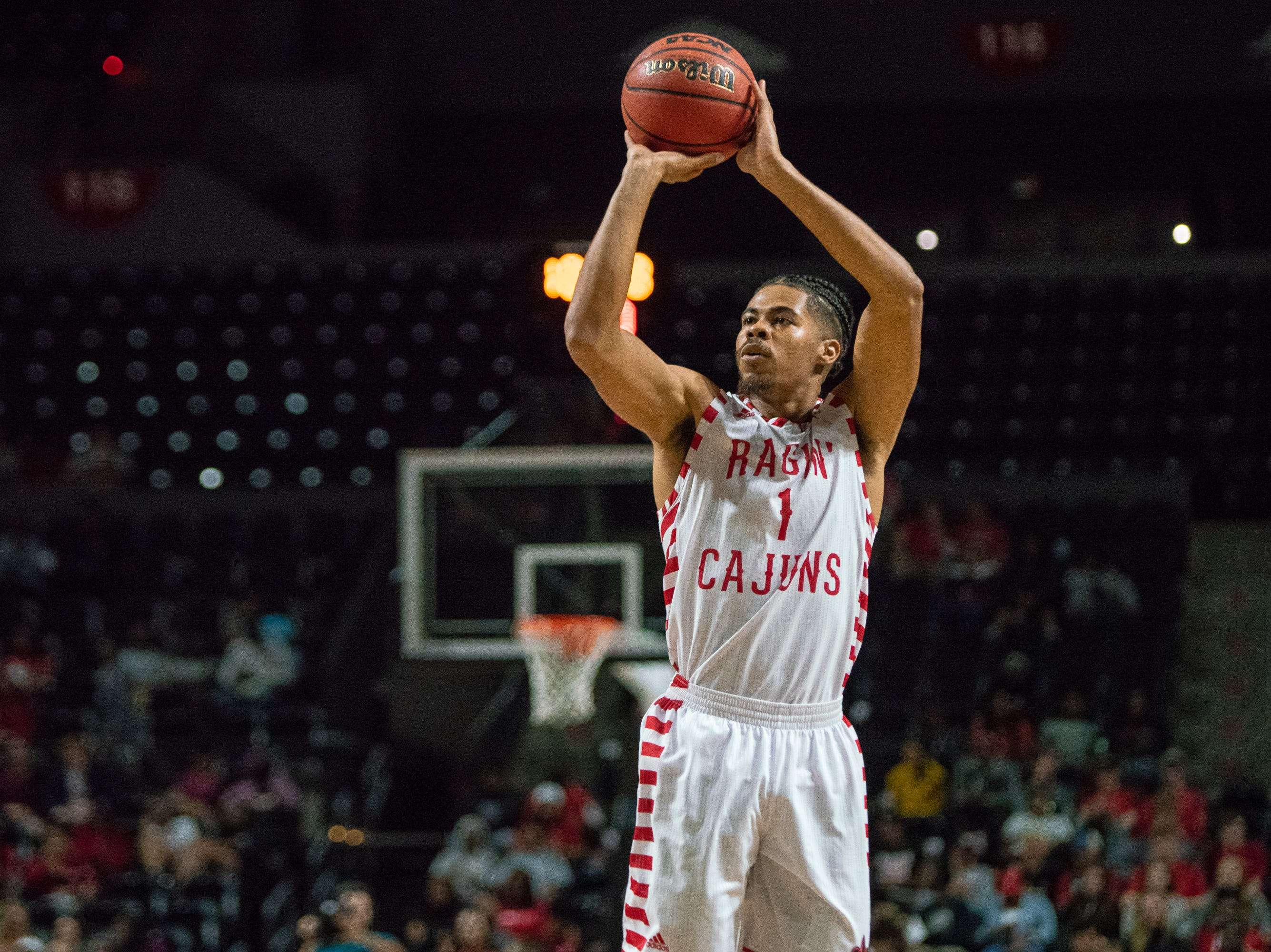 UL's Malik Marquetti shoots for three points as the Ragin' Cajuns take on the University of the Virgin Islands Buccaneers at the Cajundome on Nov. 6, 2018.