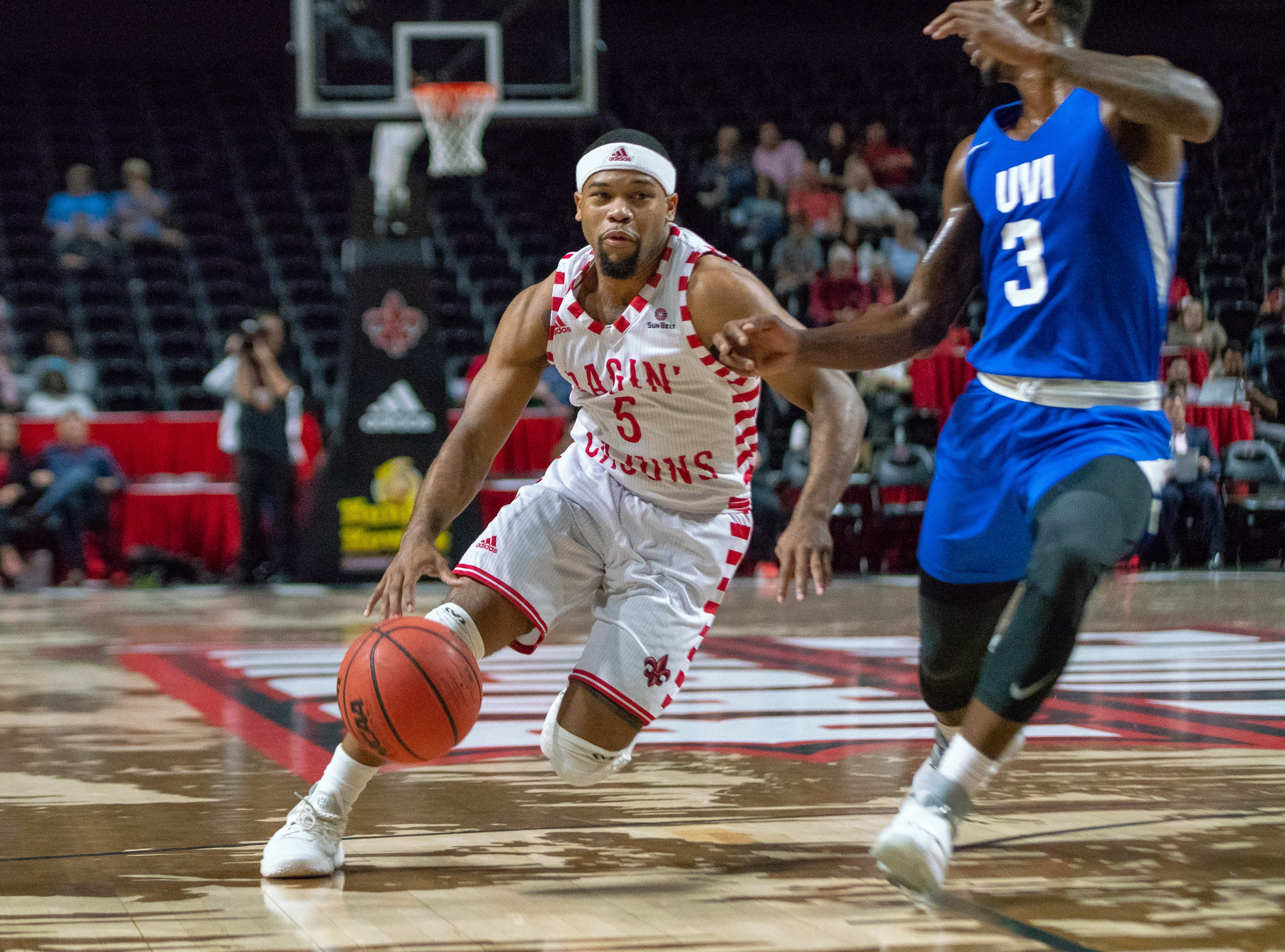 UL's Trajan Wesley drives towards the goal as the Ragin' Cajuns take on the University of the Virgin Islands Buccaneers at the Cajundome on Nov. 6, 2018.