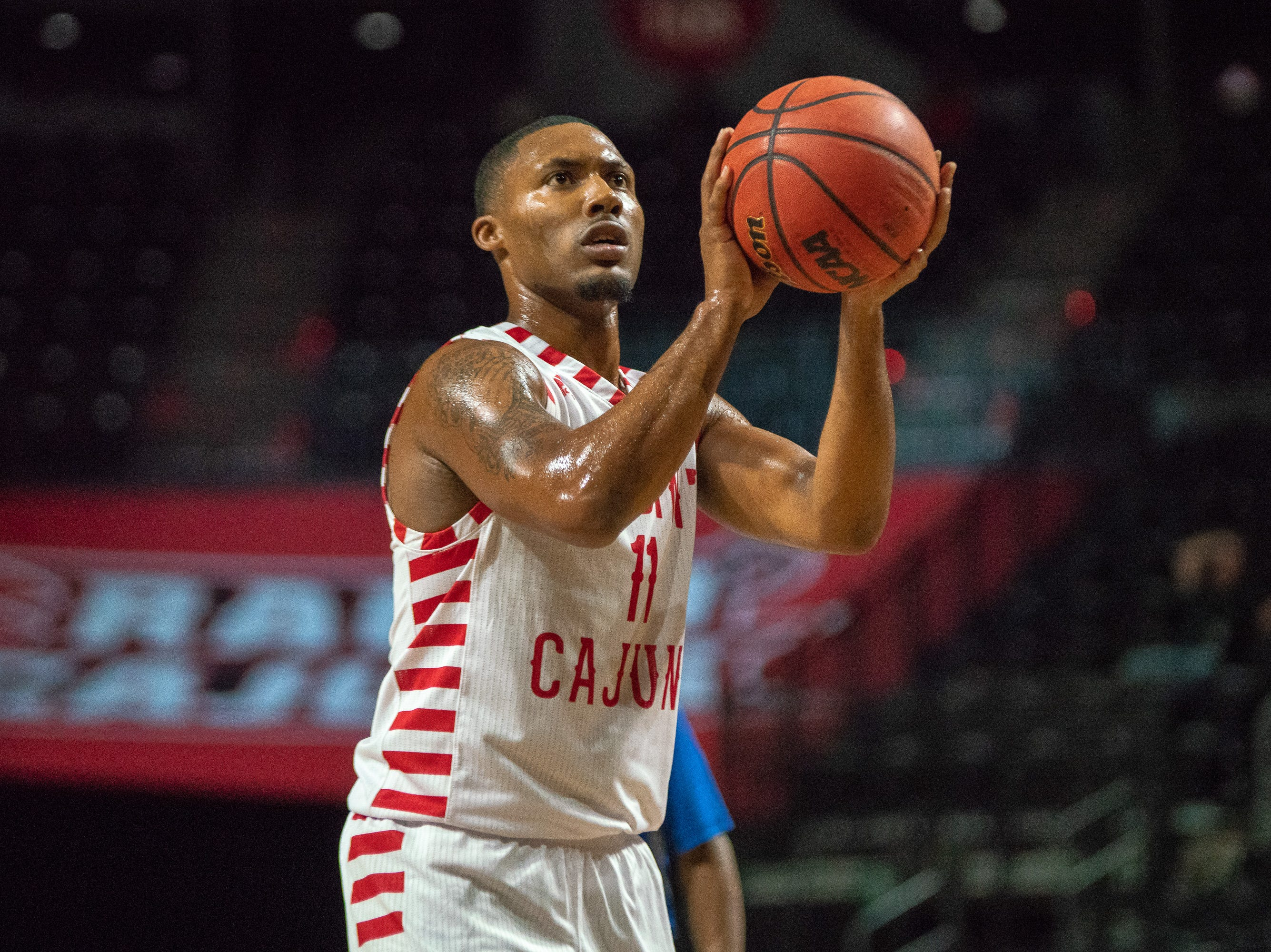 UL's Jerekius Davis shoots a free-throw as the Ragin' Cajuns take on the University of the Virgin Islands Buccaneers at the Cajundome on Nov. 6, 2018.