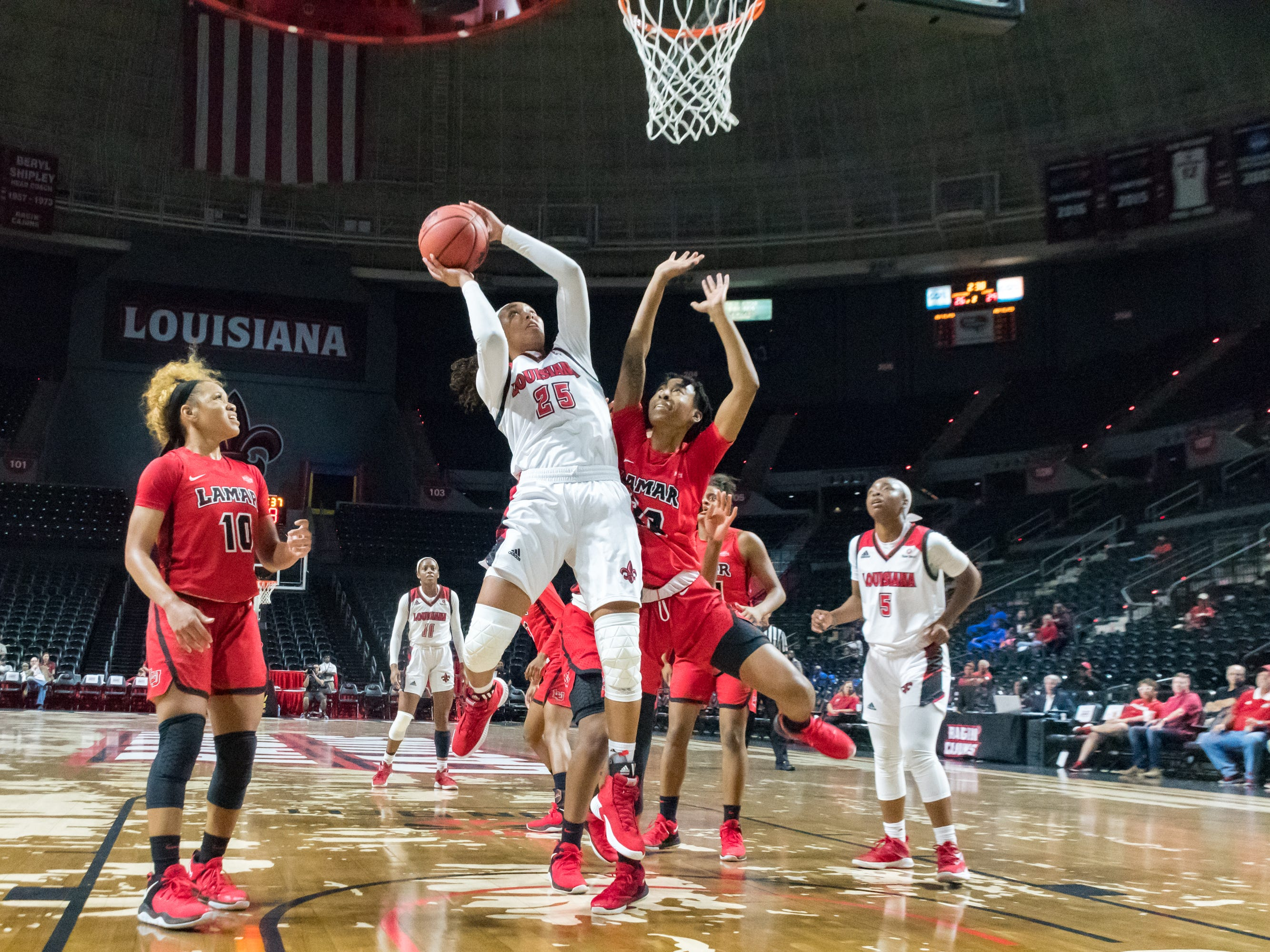 Jazmyn Womack shoots for two as the Cajuns take on Lamar in Womens Basketball. Tuesday, Nov. 6, 2018.