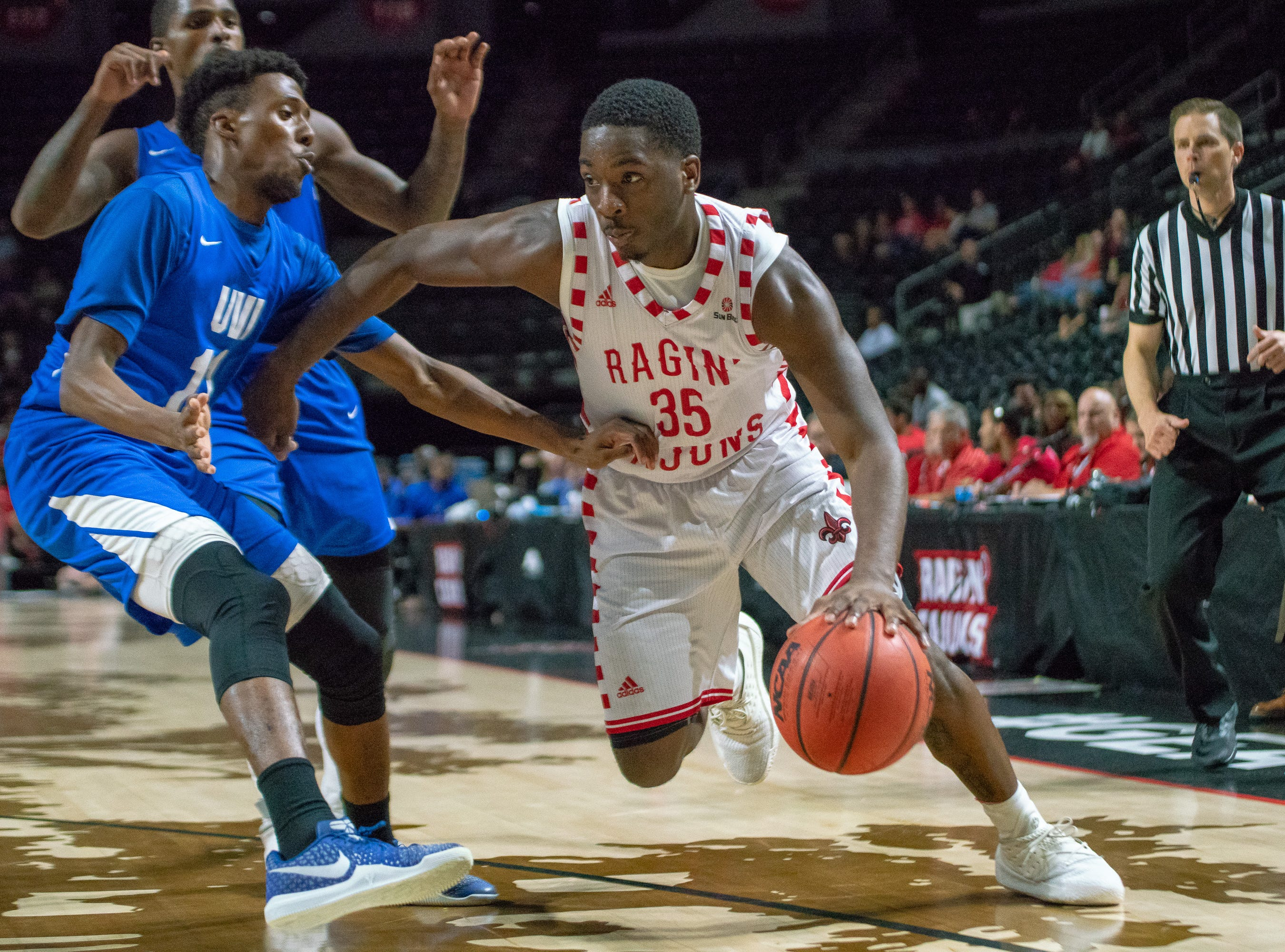 UL's Marcus Stroman charges through the opposing defense as the Ragin' Cajuns take on the University of the Virgin Islands Buccaneers at the Cajundome on Nov. 6, 2018.