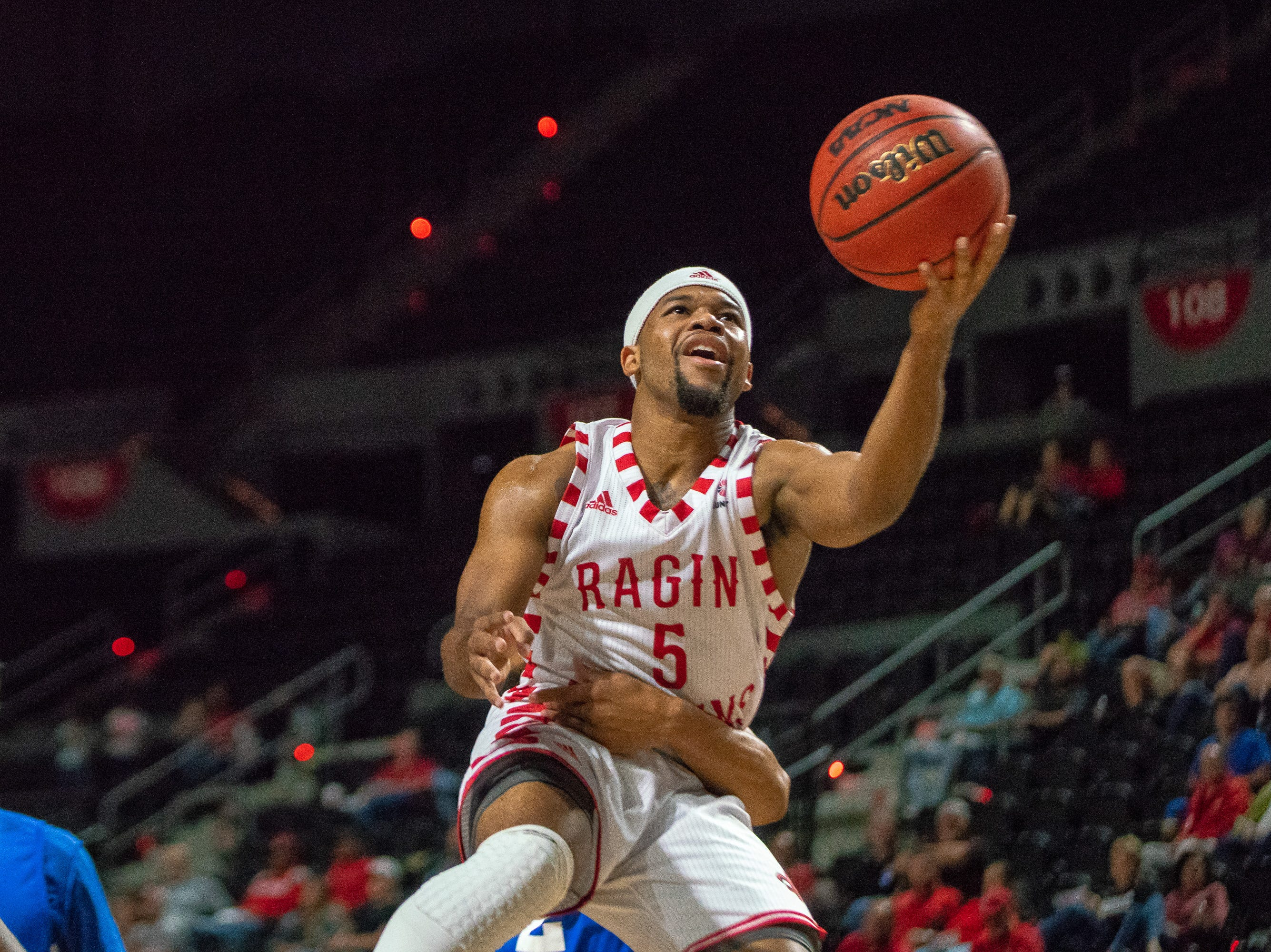 UL's Trajan Wesley gets fouled while going up to the goal as the Ragin' Cajuns take on the University of the Virgin Islands Buccaneers at the Cajundome on Nov. 6, 2018.