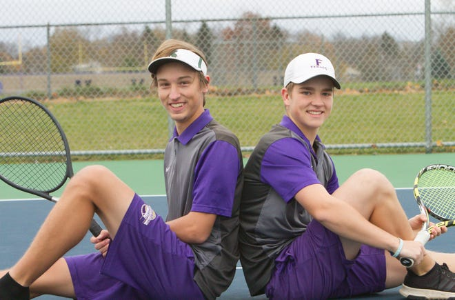 Fowlerville's No. 1 doubles team of Caden Flanery, left, and Christian Montrose went 24-1 this season.