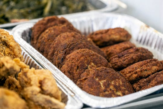 Salmon croquettes are one of the many offerings at Lucretia's Kitchen on Soul Food Sundays. 9/9/18