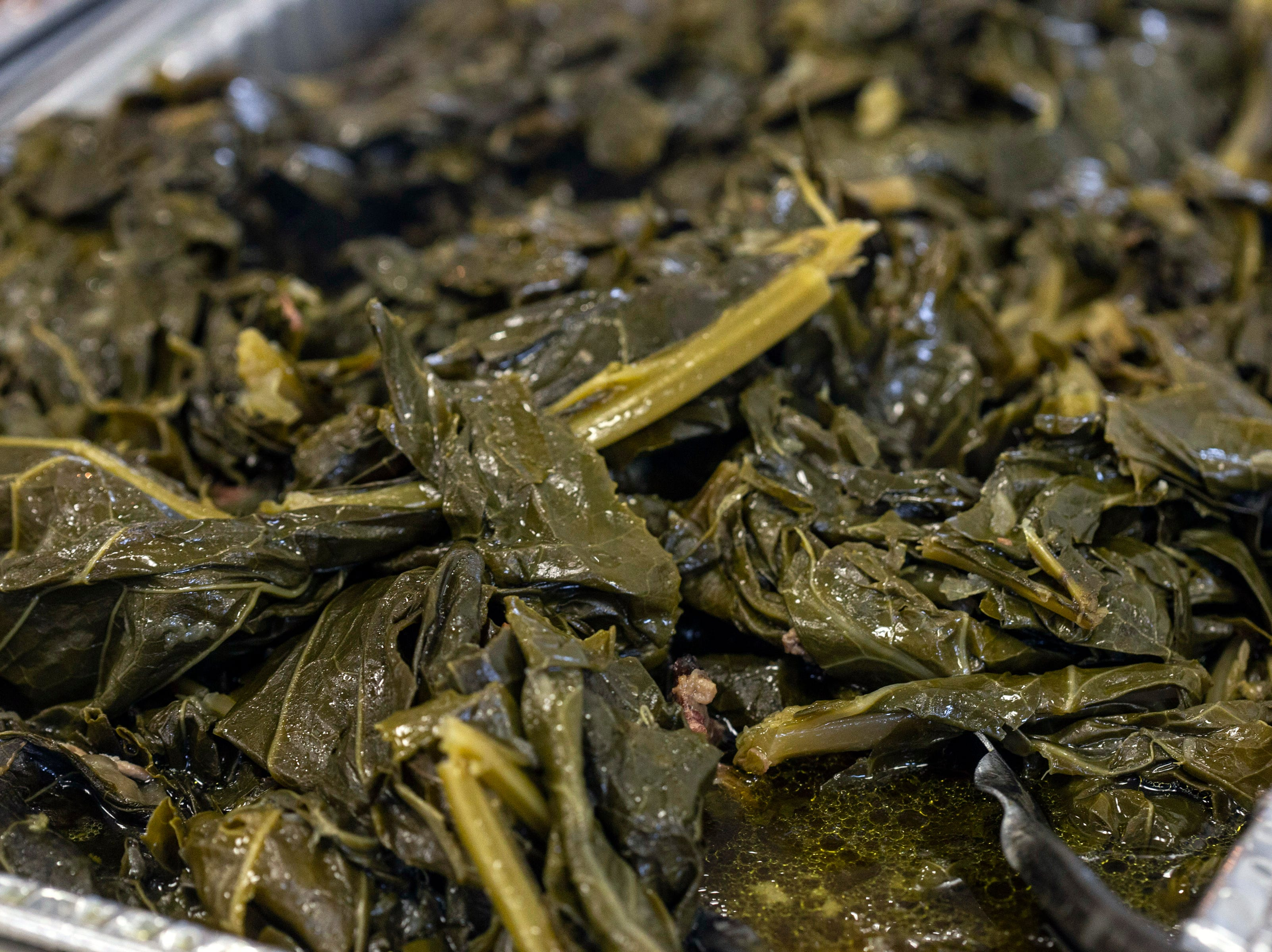 The collared greens at Lucretia's Kitchen are made with smoked turkey prepared in-house. 9/9/18