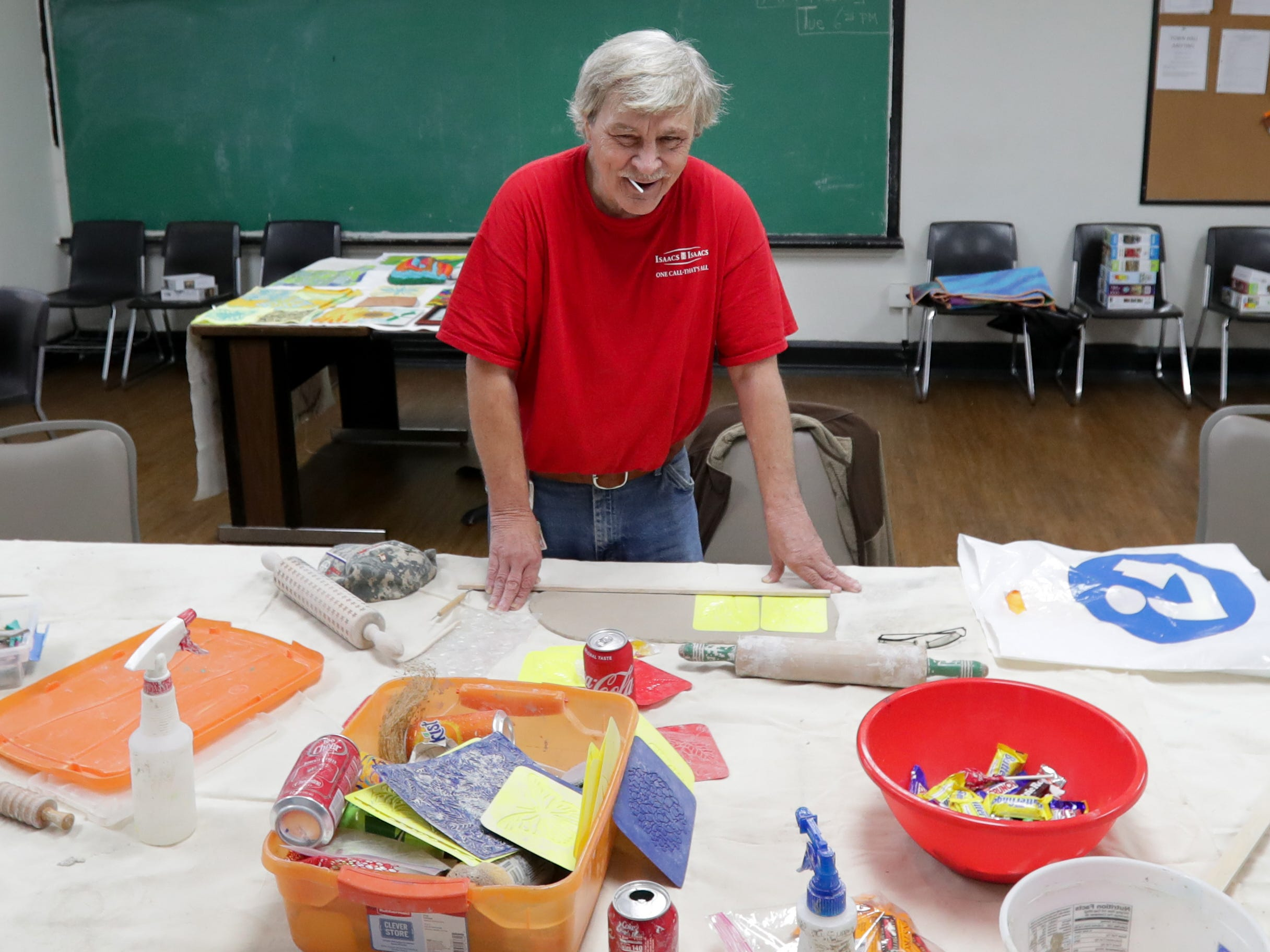 """James """"Jimbo"""" Fredrick is part of the Kentucky Center for the Arts program called Arts in Healing. The program hires artists to help people, like vets, who have gone through traumatic experiences.Nov. 1, 208"""