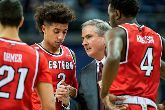 Western Kentucky coach Rick Stansbury gathers his team together during a timeout during the first half of an NCAA college basketball game against Washington on Tuesday, Nov. 6, 2018, in Seattle. (Dean Rutz/The Seattle Times via AP)