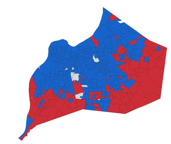 Precinct map of the 2018 mayoral race between Greg Fischer and Angela Leet.