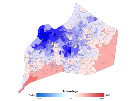 A map showing the voting advantage by precinct in the 2018 mayoral race between incumbent Greg Fischer and challenger Angela Leet. Only precincts with more than 25 total votes counted were included in the analysis.