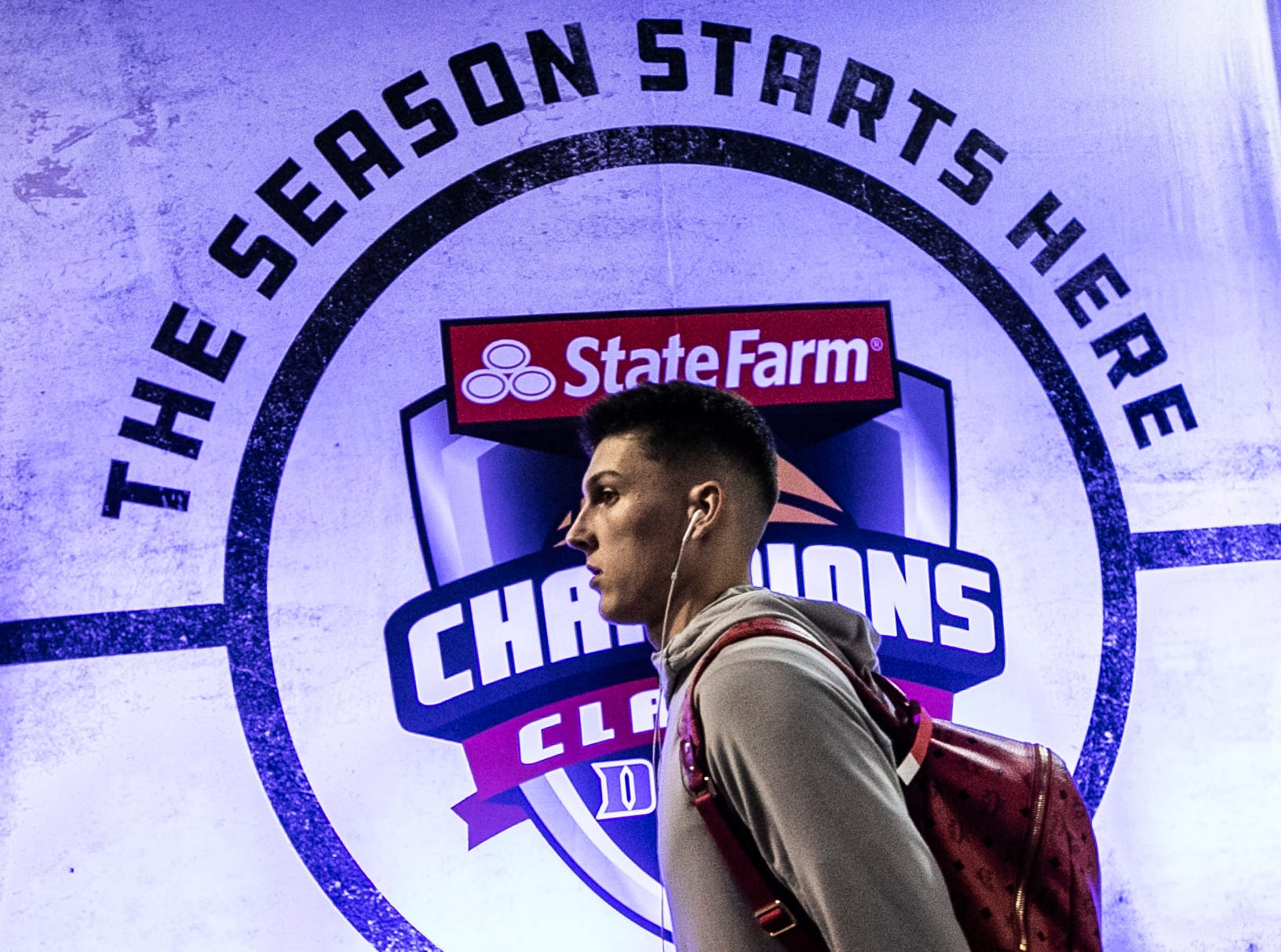 Kentucky player Tyler Herro arrives at Bankers Life Fieldhouse before the Wildcats' game against Duke in the Champions Classic Tuesday night in Indianapolis. Nov. 6, 2018