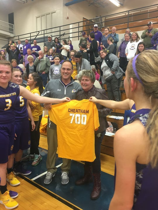 Scottsburg girls basketball coach Donna Cheatham earned win no. 700 on Tuesday night against New Washington.