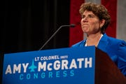 Amy McGrath at a campaign speech in November 2018.