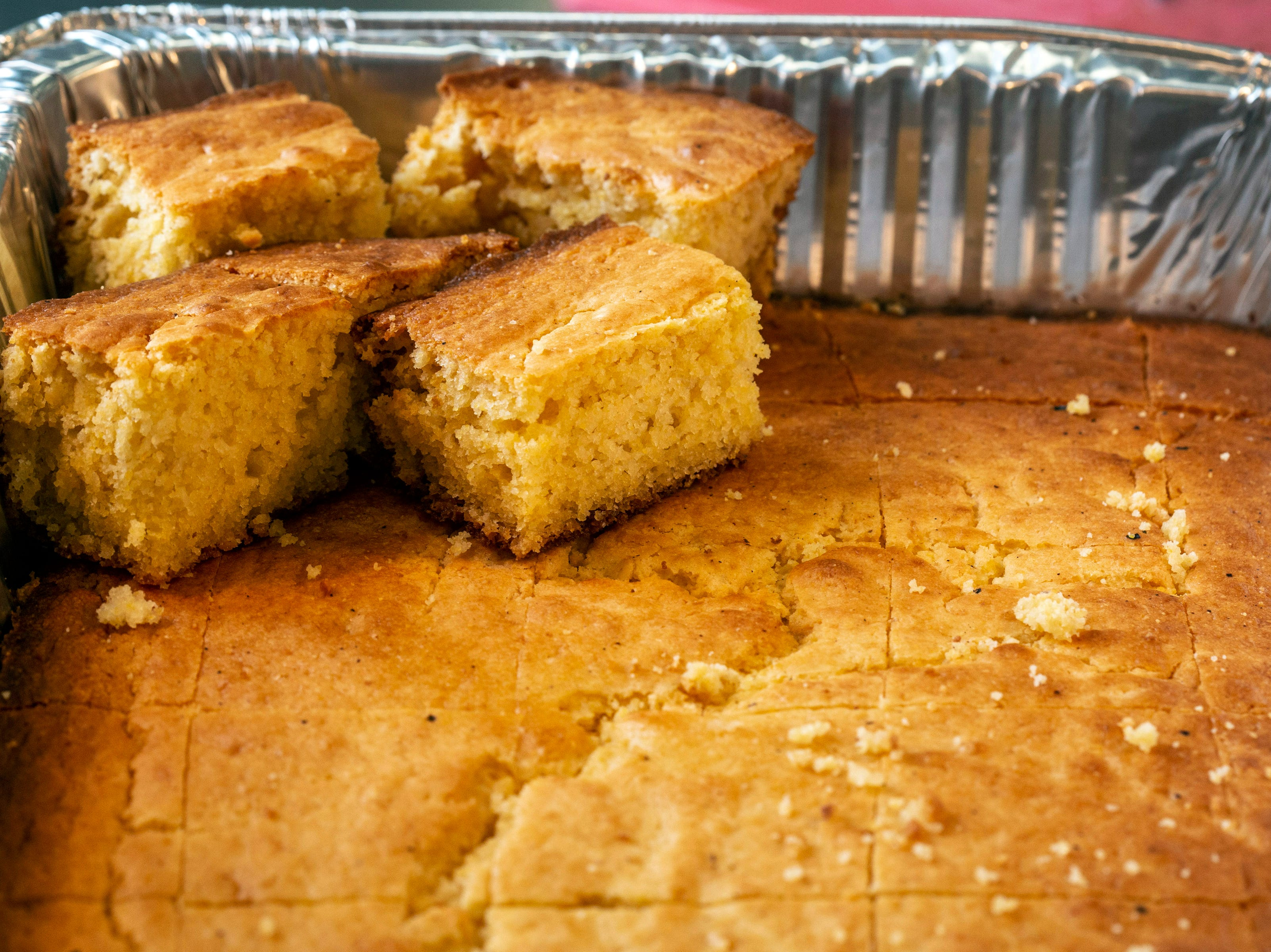 Homemade cornbread comes with every serving at Lucretia's Kitchen. 9/9/18