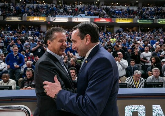 Duke's Mike Krzyzewski greets Kentucky's John Calipari before the game.