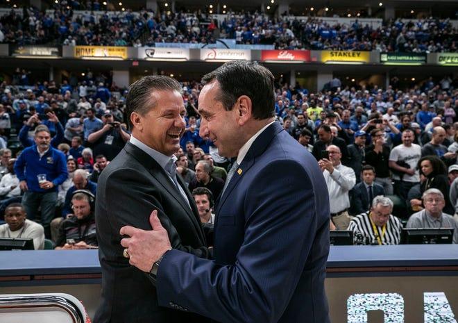 Duke's Mike Krzyzewski greets Kentucky's John Calipari before the game in the Champions Classic Tuesday night. Nov. 6, 2018