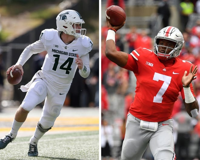 From left: Michigan State's Brian Lewerke and Ohio State's Dwayne Haskins.