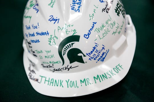 A construction hard hat filled with signatures thanking Edward J. Minskoff is displayed during an event at the Edward J. Minskoff Pavilion on Friday, Oct. 19, 2018, at the Eli Broad College of Business on the Michigan State University campus in East Lansing. Minskoff is the donor behind the record-setting $30 million donation in support of the MSU Broad College of Business' new pavilion.
