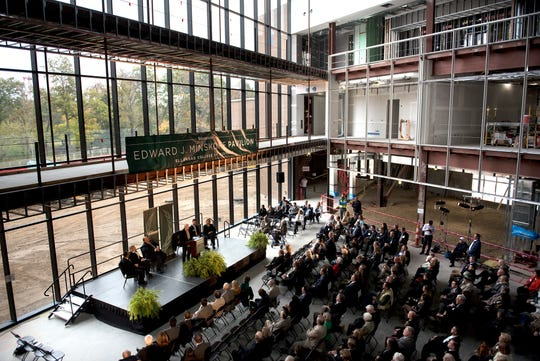 Edward J. Minskoff speaks during an event at the Edward J. Minskoff Pavilion on Friday, Oct. 19, 2018, at the Eli Broad College of Business on the Michigan State University campus in East Lansing. Minskoff is the donor behind the record-setting $30 million donation in support of the MSU Broad College of Business' new pavilion.