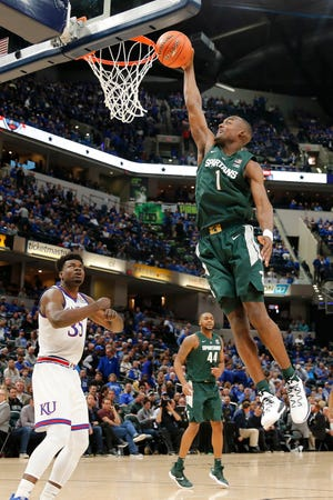 Michigan State guard Joshua Langford dunks during the second half of the Spartans' 92-87 loss against Kansas Tuesday at the Champions Classic in Indianapolis.