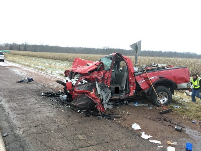 A smashed up Ford truck as a result of a two-vehicle crash on State 13 on Wednesday between Colby and Unity near Colby Factory Road.