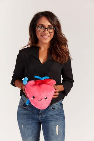 Dr. Ronak Mehta is the creator of Nerdbugs, a small start-up company that offers plush stuffed-toy versions of nine different organs. She's holding a heart, here.