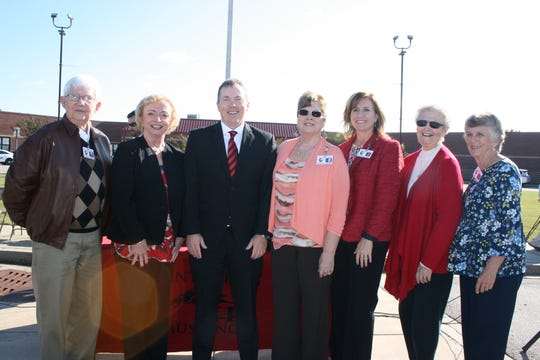 DeSoto County Schools board members joined Mississippi Superintendent of Education Carey Wright and DCS Superintendent Cory Uselton at the Blue Ribbon Celebration at Center Hill Middle School. From left are Milton Nichols,  Wright, Uselton, Shelia Riley, Michele Henley, Ann Jolley and Sarah Doss Thomas.