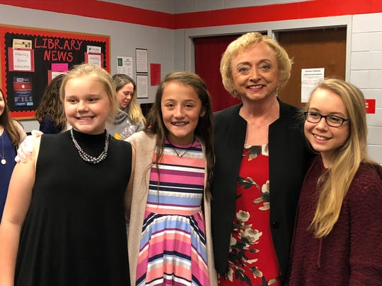 Center Hill Middle students Alayna Payne, Moriah Tims and Karly Marola are pictured with Mississippi Superintendent of Education Carey Wright, second from right. Center Hill Middle School was honored as a National Blue Ribbon School.