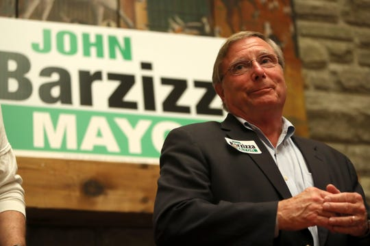 Mayoral candidate John Barzizza speaks to his supporters in Germantown as he finds out out his race is too close to call on election night Tuesday.