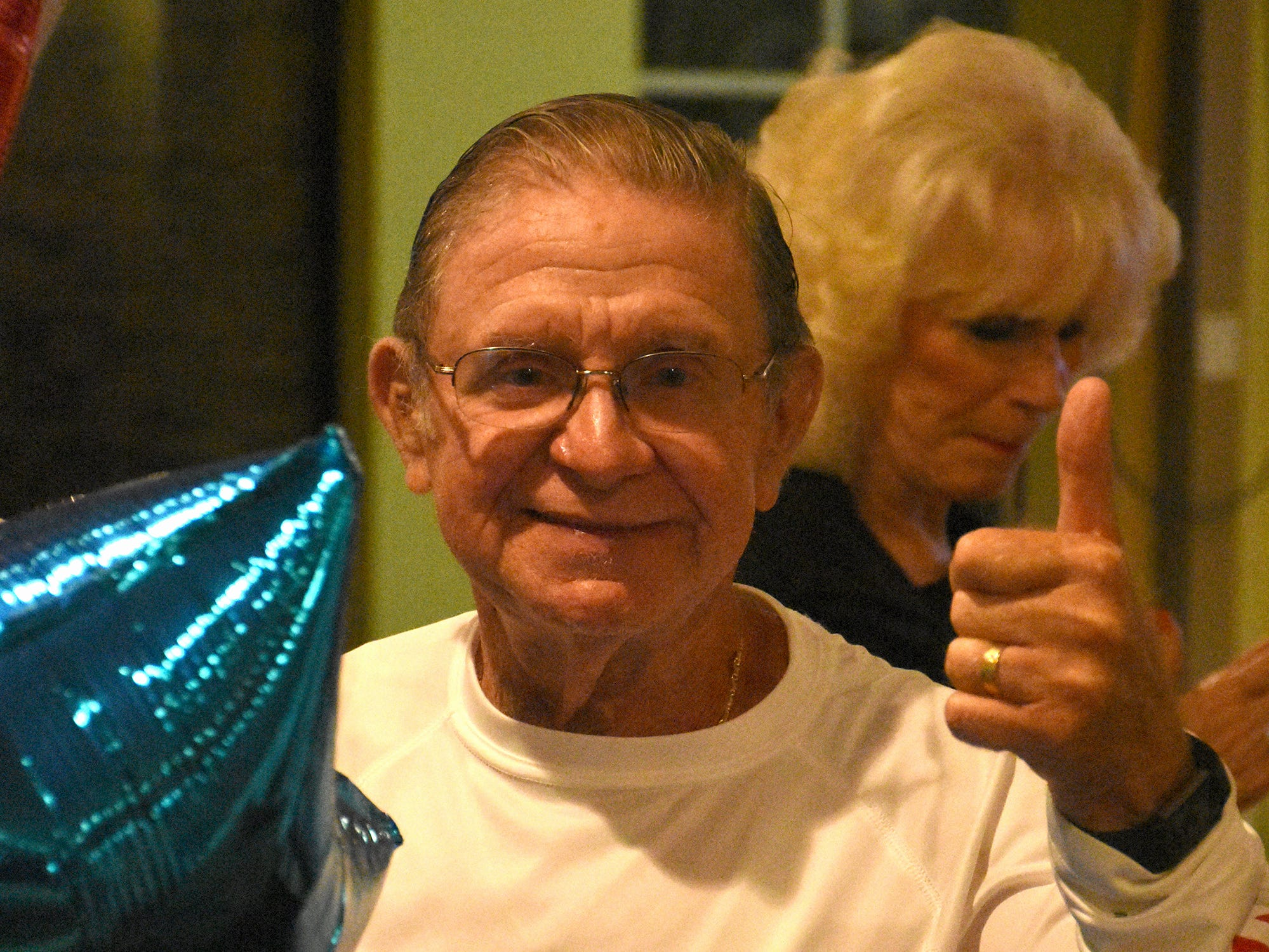 Victor Rios gives a thumbs up at Stonewalls Tavern to celebrate his re-election. Marco Island voters elected Erik Bredhnitz and Sam Young along with re-electing incumbent Victor Rios for four year temrs on the Marco Island City Council Tuesday evening.
