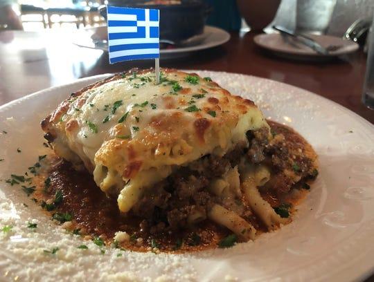 Pastitso, also known as Greek lasagna, from Mykonos Kuzina of Naples.