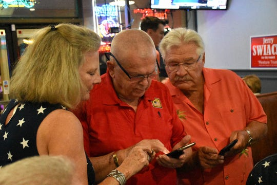 Unsuccessful candidate Jerry Swiacki, right, looks at election returns with Bill McMullan. Marco Island voters elected Erik Bredhnitz and Sam Young along with re-electing incumbent Victor Rios for four year temrs on the Marco Island City Council Tuesday evening.