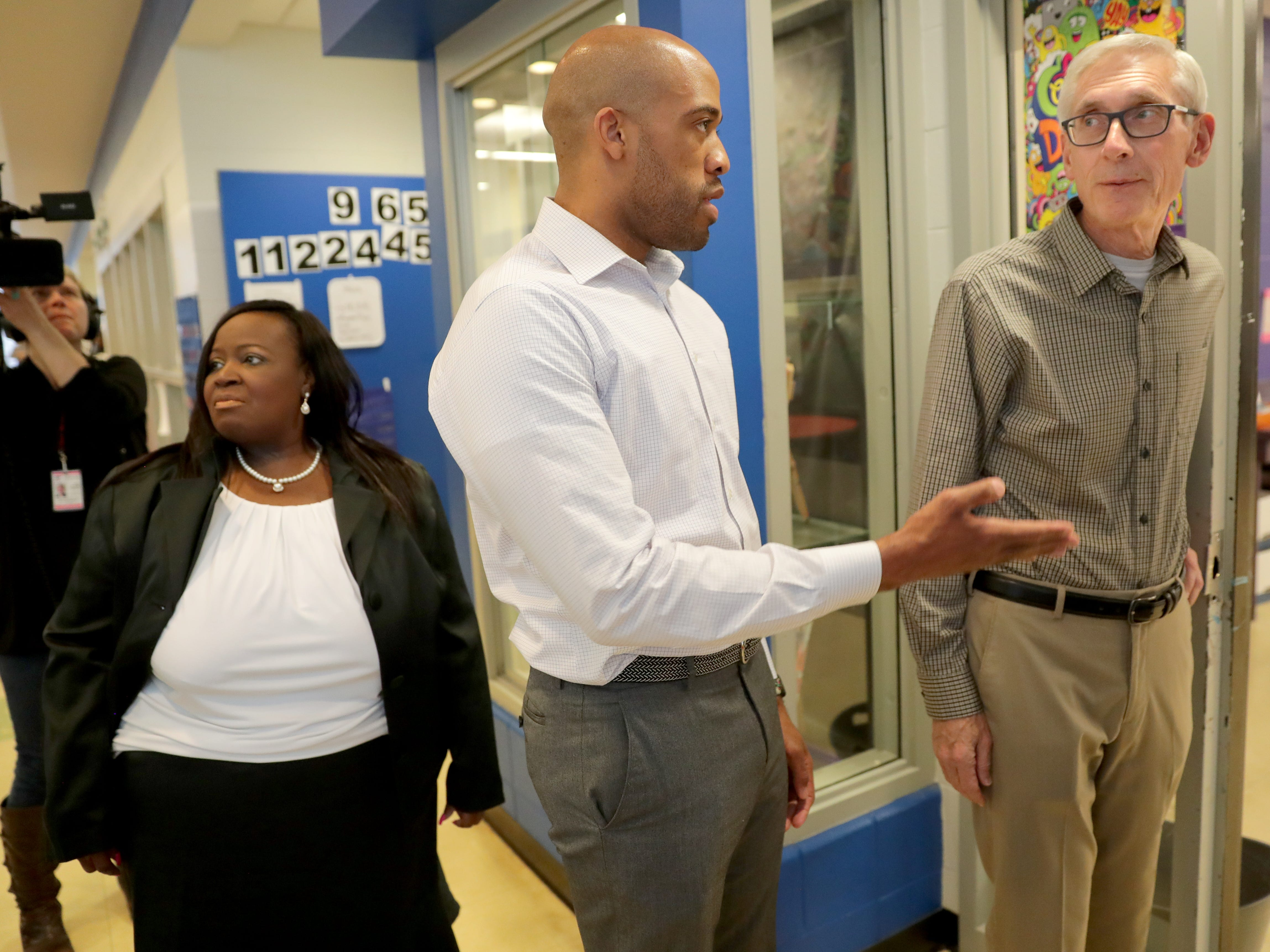 Gov.-elect Tony Evers (right), Lt. Gov.-elect Mandela Barnes and State Rep-elect Shelia Stubbs (D-Madison) visited the Boys & Girls Club of Dane County in Madison.