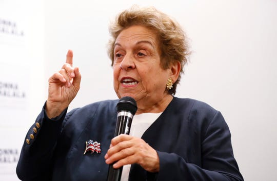 Donna Shalala speaks to volunteers in Coral Gables, Fla., during her campaign.