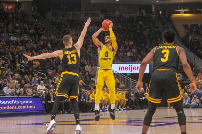 Marquette guard Markus Howard shoots against UMBC on Tuesday night.