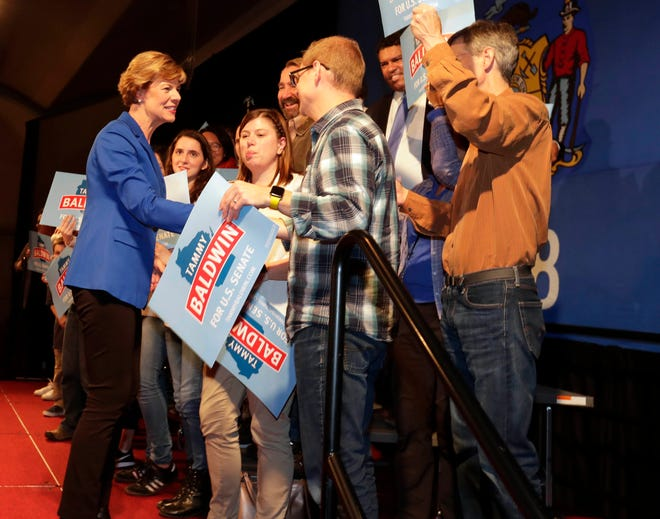 U.S. Sen. Tammy Baldwin thanks supporters after she won her campaign against Republican Leah Vukmir. She held her election night party at Monona Terrace in Madison.