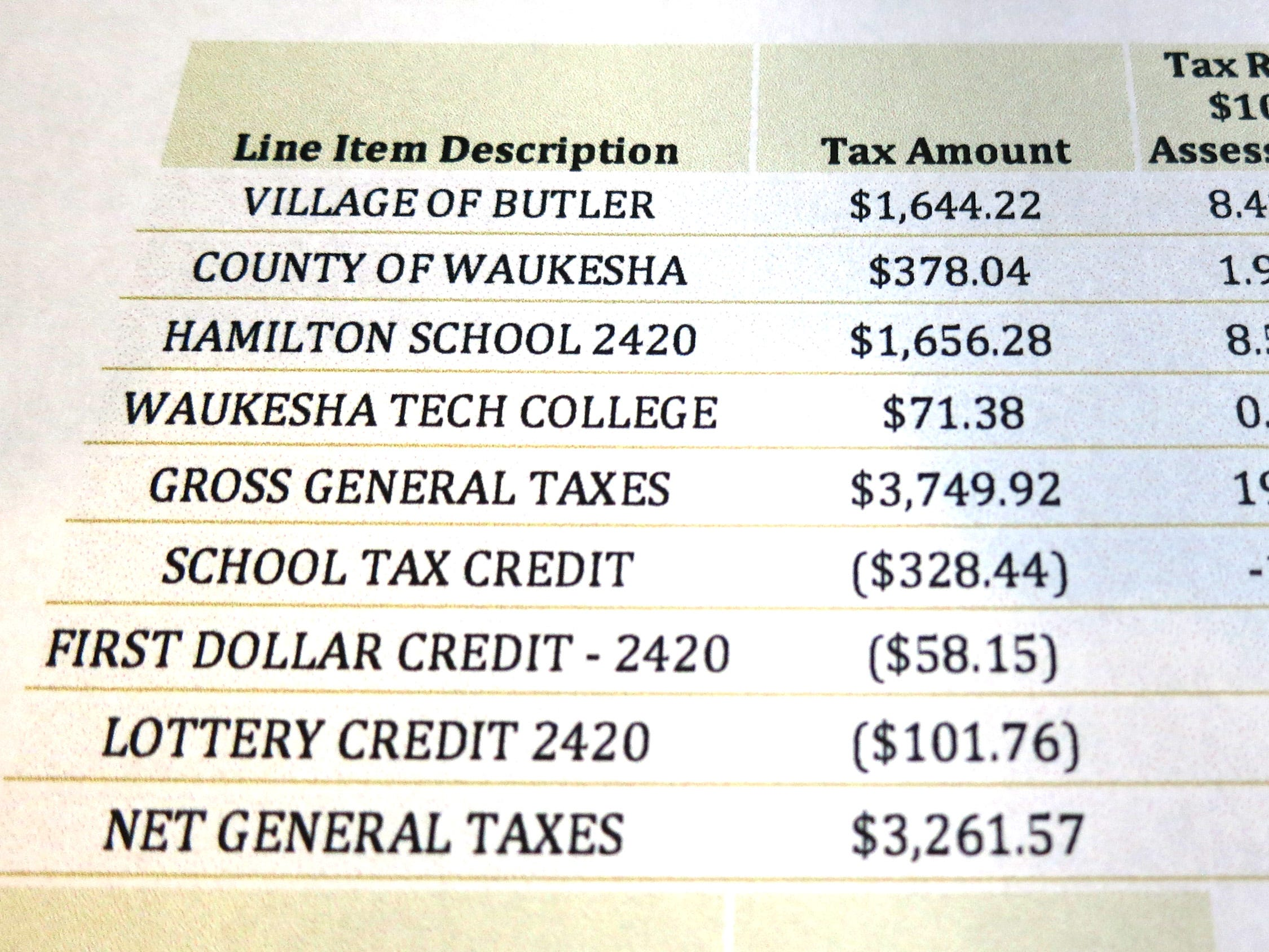 A village of Butler tax bill that includes garbage and recycling costs as part of the village's tax.