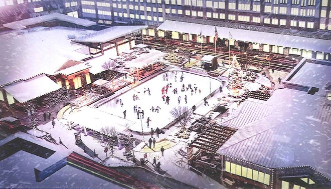 A new redevelopment proposal for Bayshore Town Center includes improvements to its public square — with an ice skating rink during the winter.