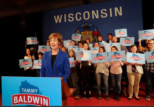 U.S. Sen. Tammy Baldwin thanks supporters Tuesday in Madison after winning re-election against Republican Leah Vukmir.