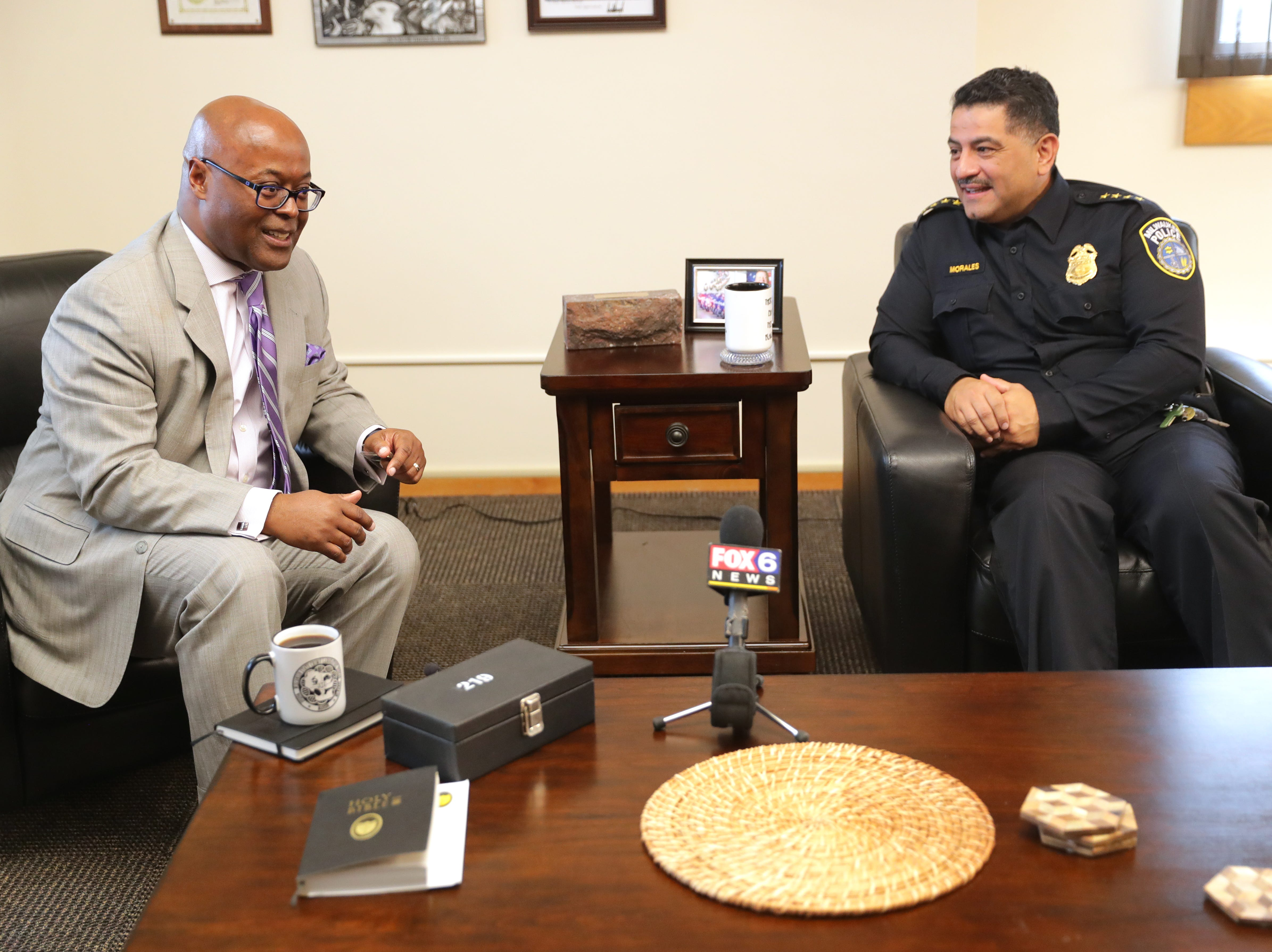 Incoming Milwaukee County Sheriff Earnell Lucas (left) and Milwaukee Police Chief Alfonso Morales meet Wednesday  at the Police Administration Building in Milwaukee. The two are looking to smooth the relationship between the two forces after the turbulent one with former Milwaukee County Sheriff David A. Clarke Jr. and Milwaukee Police Chief Ed Flynn.