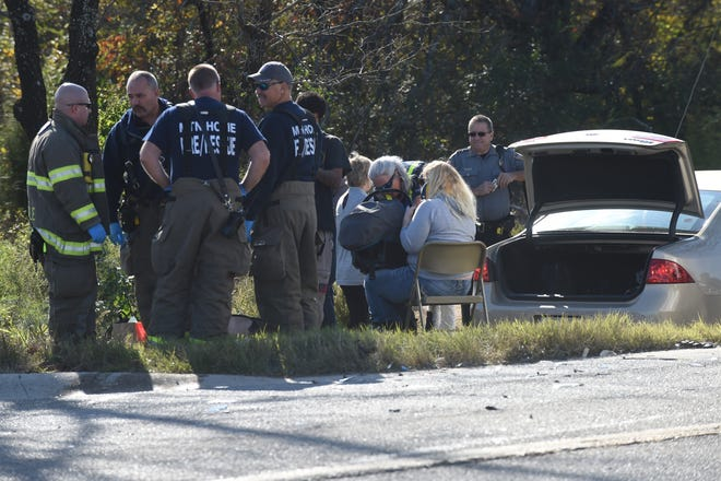 At approximately 1:30 p.m. on Wednesday, two people were apparently injured in a two-vehicle accident at the intersection of Rodeo Drive and Arkansas State Highway 5 North. One woman could be seen to be placed on a stretcher and loaded into an ambulance. A second woman could be seen sitting in a chair, wearing a neck brace and holding an infant in a car seat that was reportedly in one of the cars. A law enforcement official on scene said the Arkansas State Police would be investigating the accident. Unlike other local law enforcement agencies, the ASP does not release any information about accidents unless there is a fatality as a result.