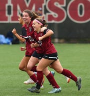 Morristown-Beard's Maggie Cotter celebrates after scoring vs. Morris Catholic during their NJSIAA Non-Public B North girls soccer semifinal. 