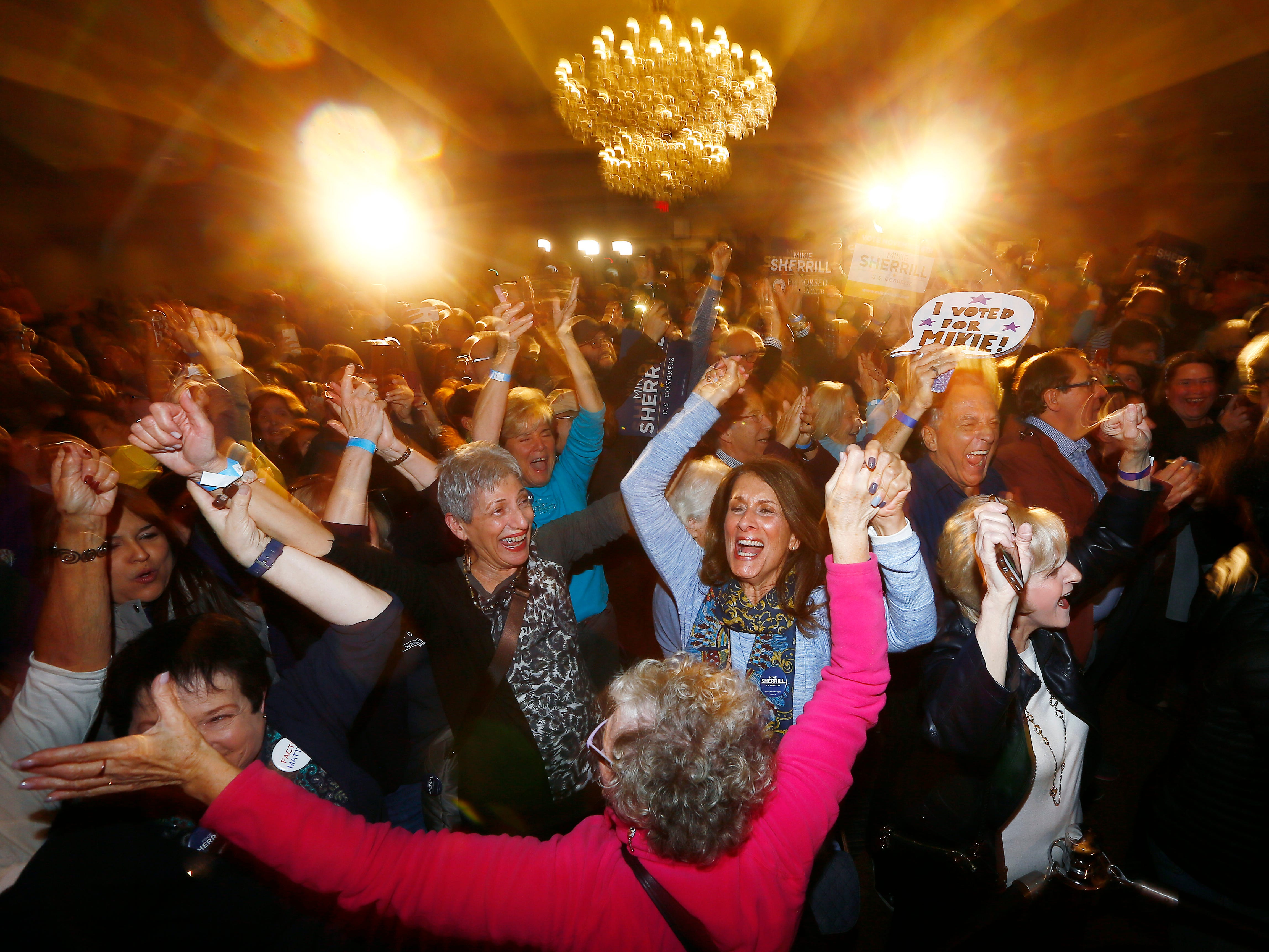 Supporters of Mikie Sherrill explode into cheers as CNN names her the winner for the NJ 11th Congress seat at the Parsippany Sheraton. The Naval Academy graduate, Navy Pilot and former federal prosecutor was running for Rodney Frelinghuysen's seat in the NJ 11th district. November 6, 2018, Parsippany, NJ