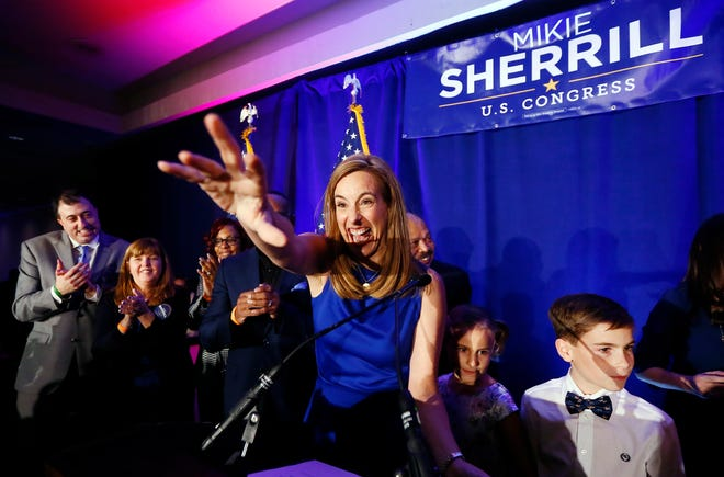Mikie Sherrill makes her acceptance speech, winning for the Democrats a seat held by Republicans for more than 30 years. Sherrill defeated Republican candidate, state Assemblyman Jay Webber in the 11th District.November 6, 2018, Parsippany, NJ