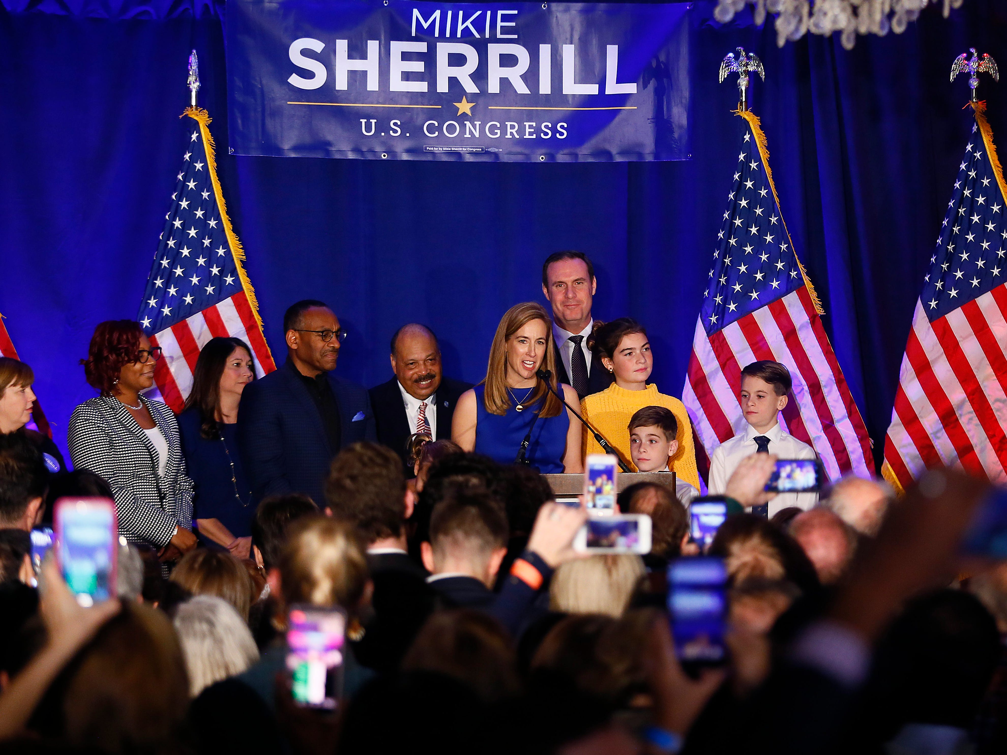 Mikie Sherrill makes her acceptance speech, winning for the Democrats a seat held by Republicans for more than 30 years. Sherrill defeated Republican candidate, state Assemblyman Jay Webber in the 11th District.