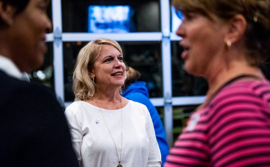 Jannah Morgan Bailey, who will represent Montgomery Board of Education District 5, waits on returns with supporters at The Tipping Point in Montgomery, Ala., on Tuesday evening November 6, 2018.
